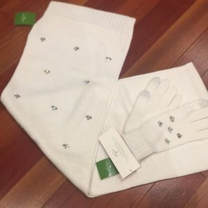 White Kate Spade scarf and gloves set NWT